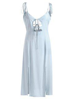 Tied Slit Cut Out Midi Dress - Light Blue L