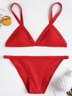 Plunge Padded String Bikini Set - Love Red M