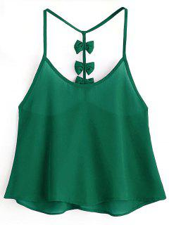 Bowknot Embellished Cami Top - Medium Forest Green M