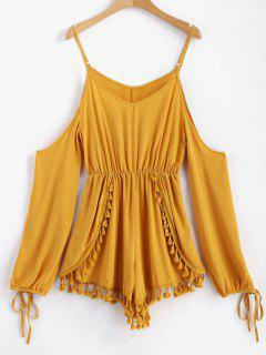 Layered Tassels Cold Shoulder Romper - Orange Gold L