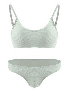 Ribbed Bralette Cheeky Bikini Set - Pale Green M