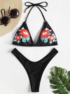 Floral High Cut Thong Bikini Set - Black L