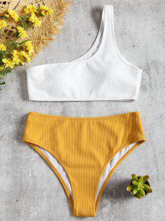 Bikini Taille Haute à Nervures Et Une Epaules  - Jaune S