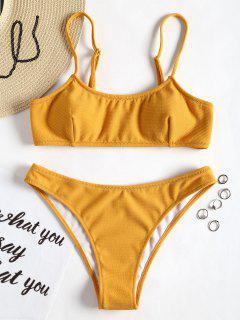 Bikini Con Textura Acanalada Y Tirantes De Espagueti - Jengibre S