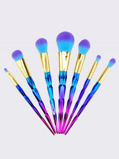 Manija En Forma De Diamante Ombre Pelo Dos Tonos 7pcs Pinceles De Maquillaje Conjunto - Azul