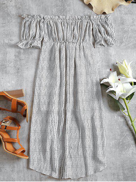 Vestido de crepé a rayas con hombros descubiertos - Blanco S Mobile