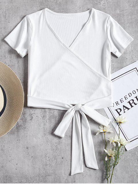 T-shirt côtelé côtelé à manches courtes - Blanc S Mobile