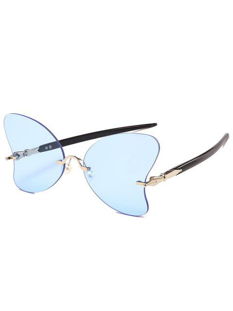 buy Anti UV Rimless Pearl Butterfly Sunglasses - LIGHT BLUE  Mobile
