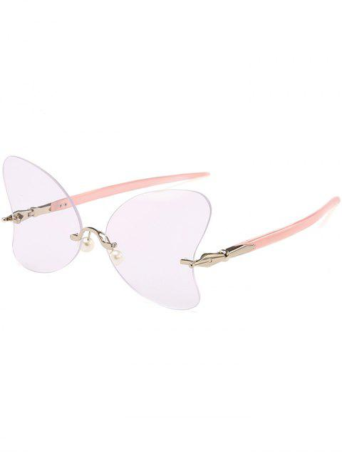 womens Anti UV Rimless Pearl Butterfly Sunglasses - PINK + WHITE  Mobile
