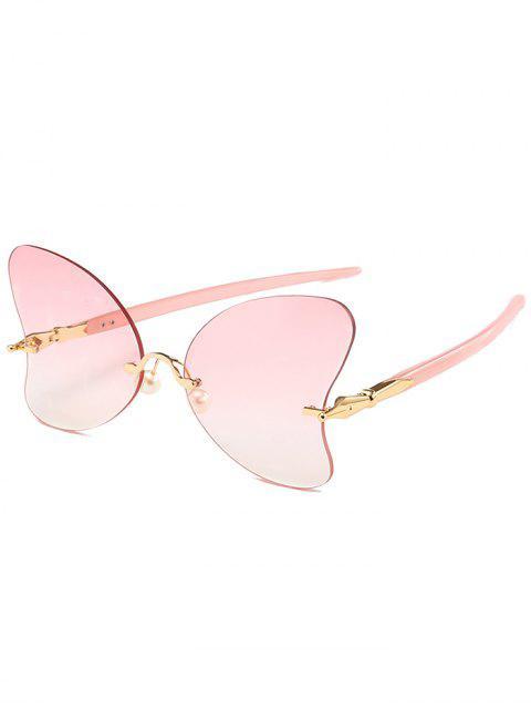 Lunettes Solaires en Forme de Papillon Anti-UV Sans Monture avec Perle - Rose Léger   Mobile