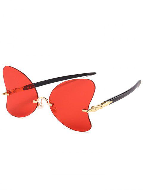 Anti-UV-randlose Perle Schmetterling Sonnenbrille - leuchtend rot   Mobile