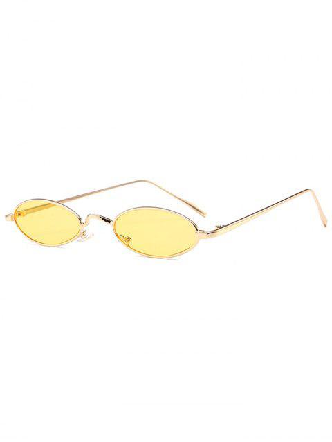 Einzigartige Metall Full Frame Oval Sonnenbrille - Gelb  Mobile