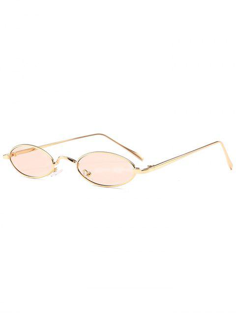 chic Unique Metal Full Frame Oval Sunglasses - NUDE PINK  Mobile