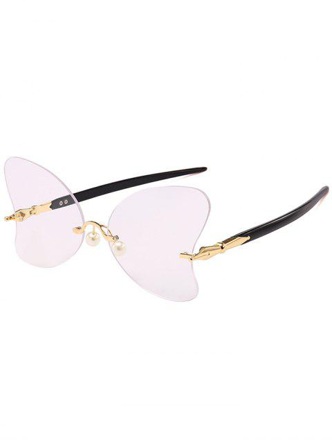 affordable Anti UV Rimless Pearl Butterfly Sunglasses - BLACK WHITE LIGHT  Mobile