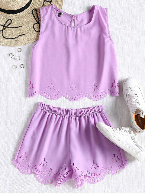 fashion Sleeveless Laser Cut Top and Shorts Set - LAVENDER S Mobile