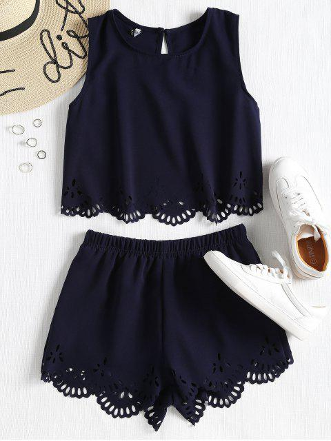 outfits Sleeveless Laser Cut Top and Shorts Set - MIDNIGHT BLUE L Mobile