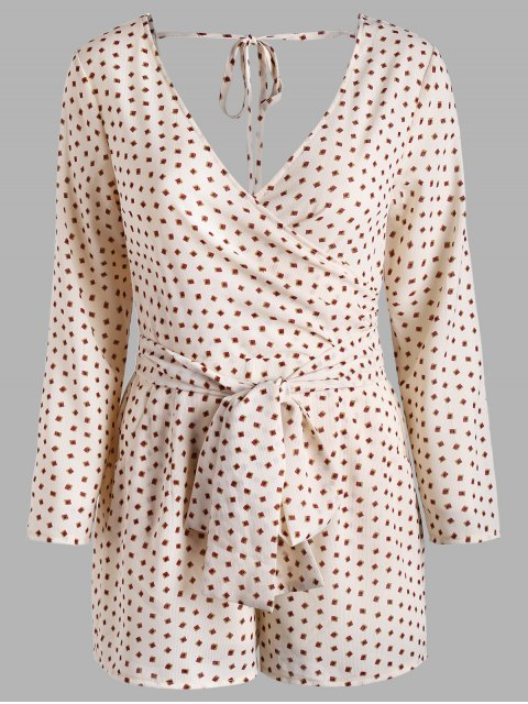 outfits Printed Long Sleeve Pocket Surplice Romper - PEARL L Mobile