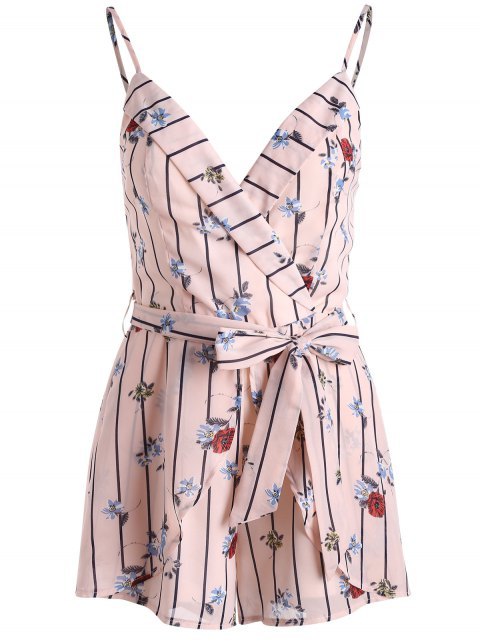 latest Stripe Floral Print Belted Cami Romper - PEARL L Mobile