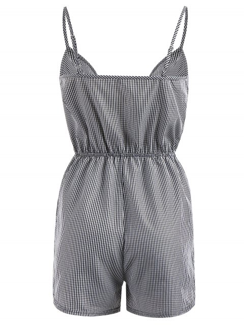 outfits Embroidered Patched Gingham Romper - BLACK L Mobile
