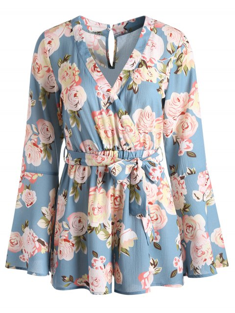 trendy Bell Sleeve Floral Surplice Romper - BLUE KOI L Mobile