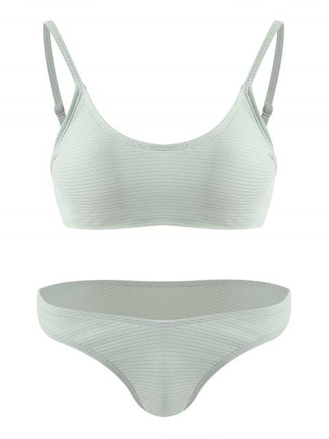 fancy Ribbed Bralette Cheeky Bikini Set - PALE GREEN L Mobile
