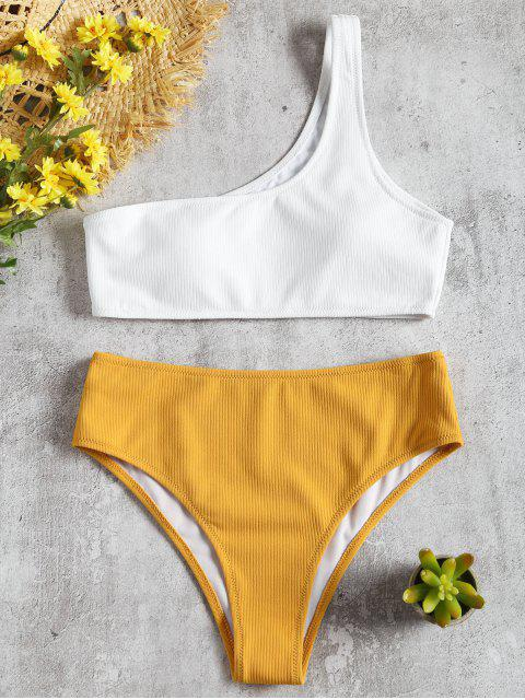 Eine Schulter Hoch Taillierter Gerippter Bikini - Gelb S Mobile