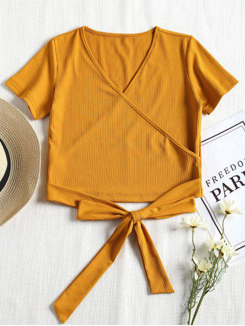unique Short Sleeve Ribbed Faux Wrap Tee - MUSTARD S Mobile