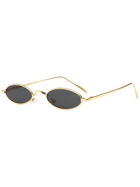 Einzigartige Metall Full Frame Oval Sonnenbrille - Gold+Grau  Mobile
