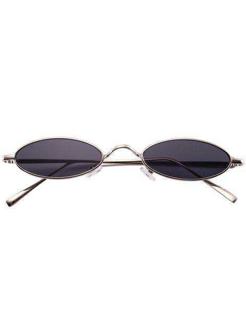 Gafas de sol ovales de marco completo de metal único - Marco de Plata + Lente Gris  Mobile