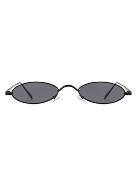 Lunettes Solaires de Forme Ovale avec Monture en Métal Style Simple - Noir + Gris  Mobile
