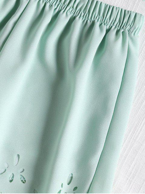 Ärmelloses, Abgeschnitten Top und Shorts Set - Hellgrün S Mobile