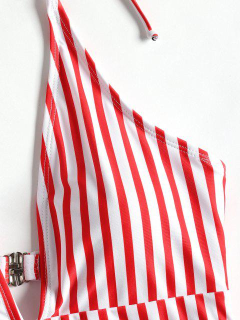 Bañador de una pieza a rayas con pierna alta - ROJO CON BLANCO S Mobile