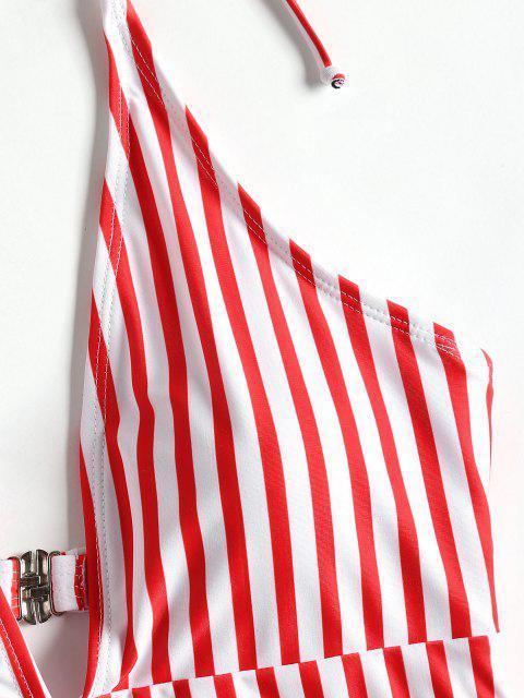 Bañador de una pieza a rayas con pierna alta - ROJO CON BLANCO M Mobile