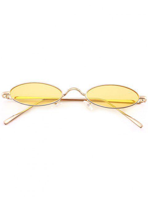 Occhiali Da Sole Ovali Tutti Cerchiati In Metallo Unici - Giallo  Mobile