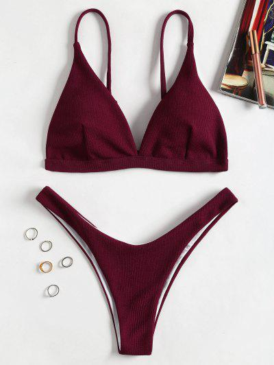 Ribbed Texture Thong Bathing Suit - Red Wine S