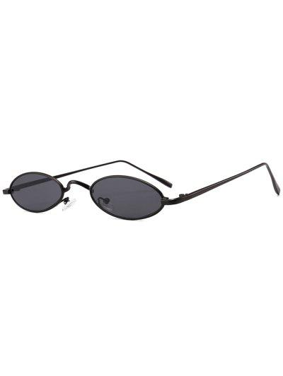Unique Metal Full Frame Oval Sunglasses - Black+grey