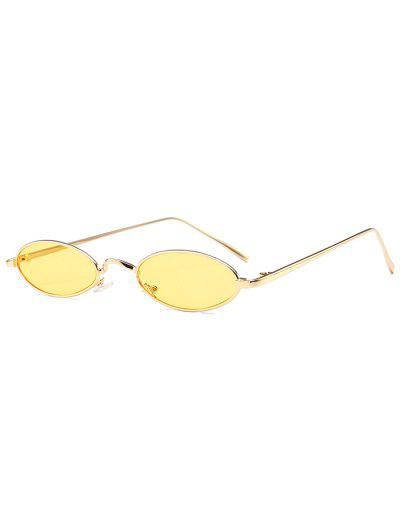 Unique Metal Full Frame Oval Sunglasses - Yellow