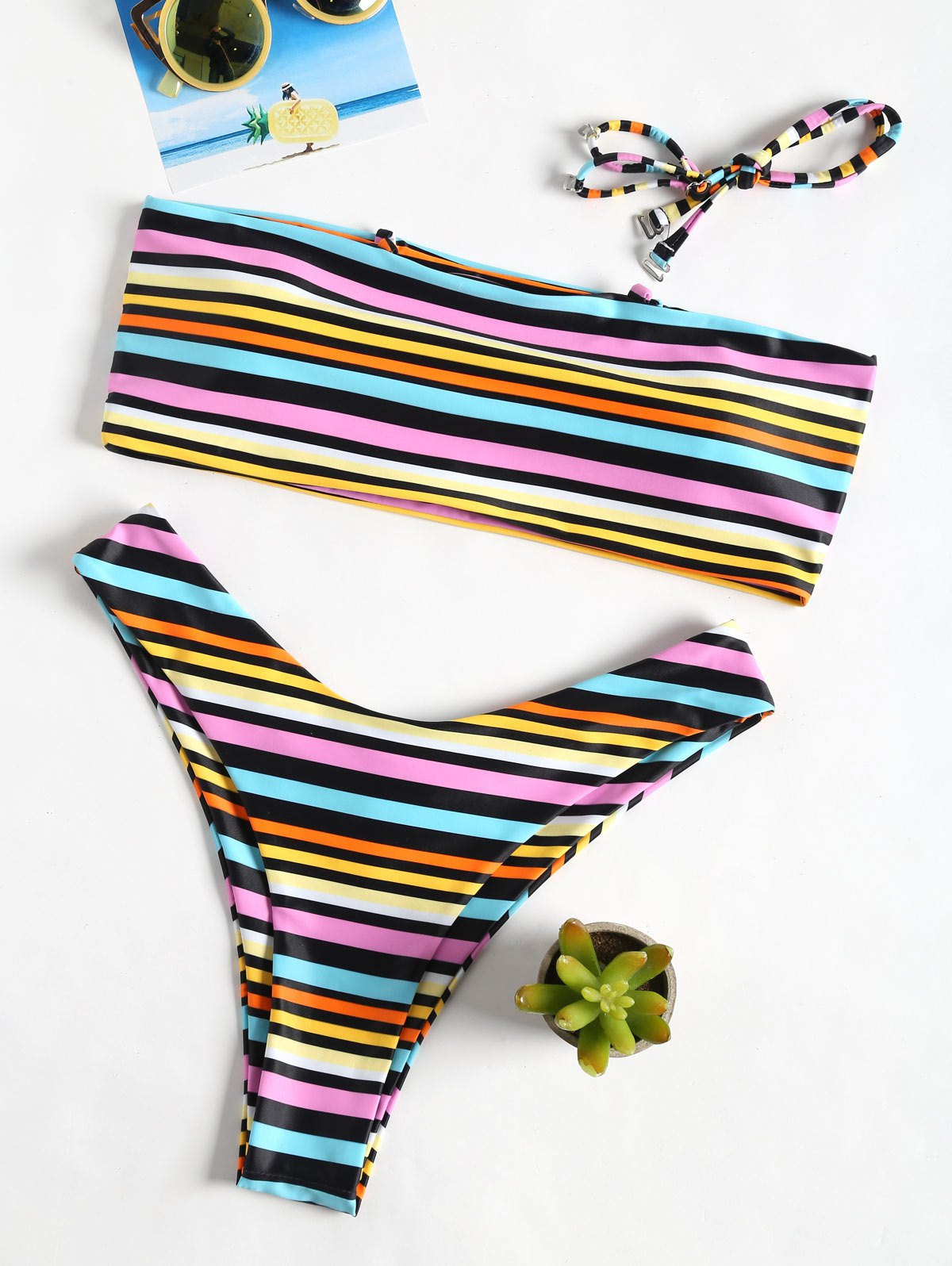 Rainbow Stripe Bandeau High Cut Bikini Set