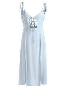 فستان ميدي انقسام ربطة - الضوء الأزرق S