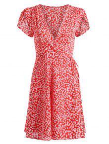 فستان مصغر طباعة الأزهار المصغرة - أحمر Xl