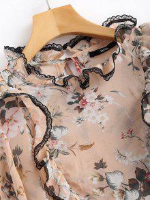 Rosado Floral Escarpada Estampado Con Volantes Gasa De Con S Blusa Rq68w8