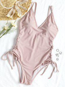 الدانتيل متابعة قطعة واحدة ملابس السباحة - زهري L