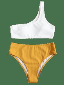 bikini c tel taille haute avec une paule d nud e jaune bikinis m zaful. Black Bedroom Furniture Sets. Home Design Ideas