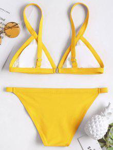 0b04bf07bd0 14% OFF] 2019 Plunge Padded String Bikini Set In YELLOW | ZAFUL