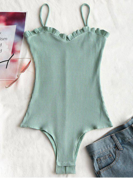 Rüschen Gerippter Cami Bodysuit - Hellgrün M