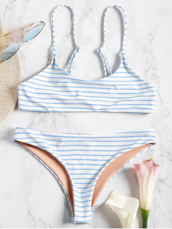 trendy Cami Striped Bralette Bikini Set - BLUE L