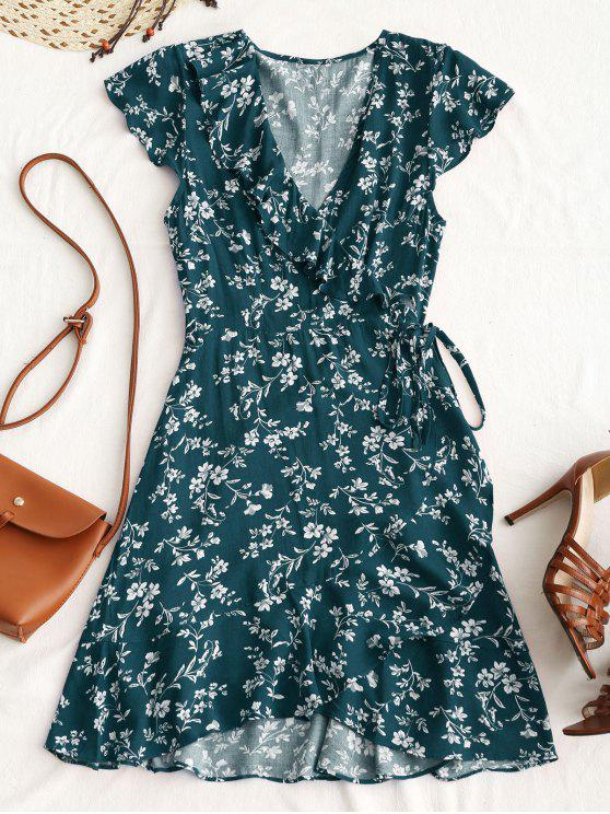 hot Tiny Floral Ruffle Mini Wrap Dress - BEETLE GREEN M