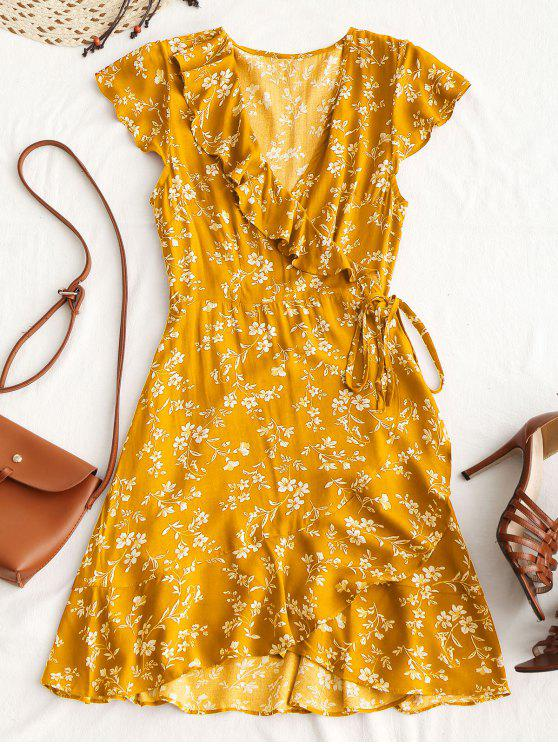 Tiny Floral Ruffle Mini Wrap Dress - Amarelo M