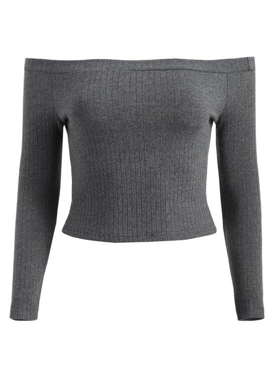 T-Shirt Corta A Costine Con Spalle Scoperte - Grigio L