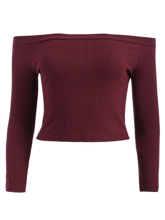 T-Shirt Court Côtelé à Épaules Dénudées - Vin Rouge L